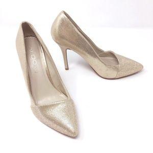 Aldo Shimmer Sparkle Pointy Toe Metallic Heels